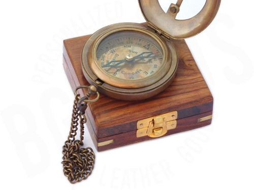 wood and brass sundial compass
