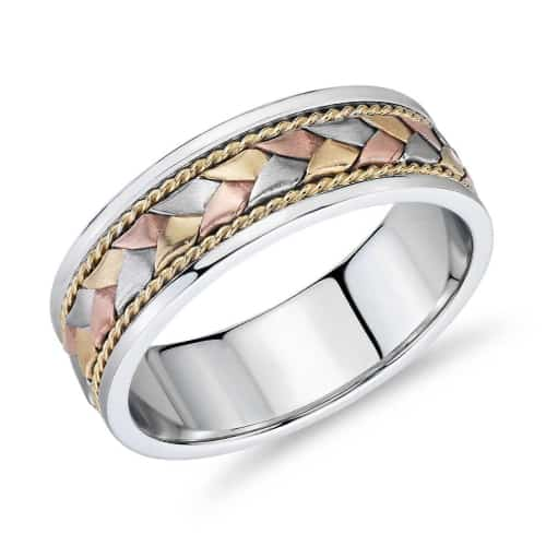 Hand-Braided Wedding Ring in three colors