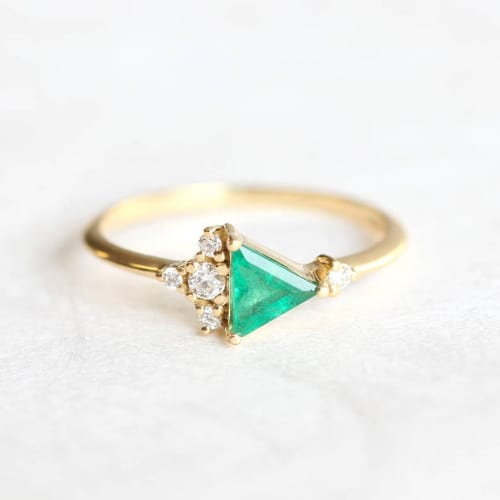 Triangle Emerald Diamond Ring