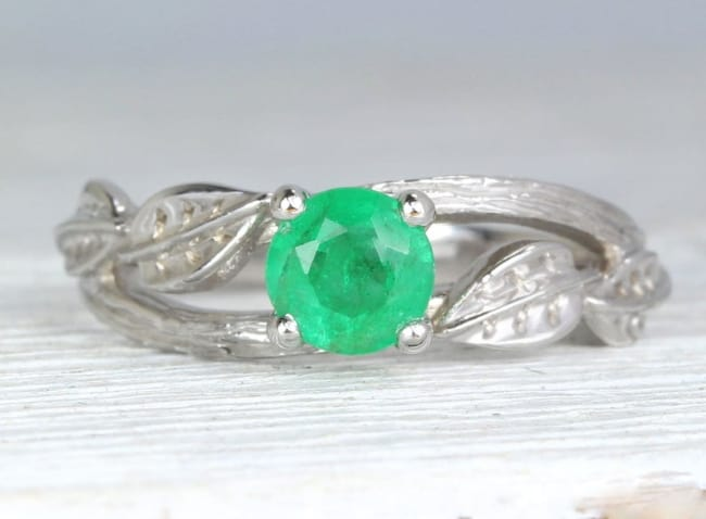 Twig Natural Emerald Engagement Ring