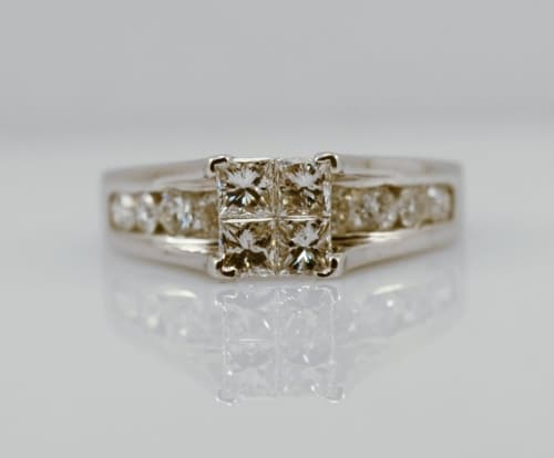 Quad Princess Diamond Engagement Ring