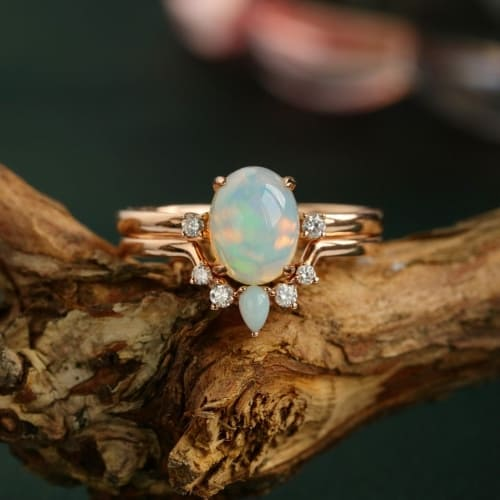 Unique opal gemstone engagement ring