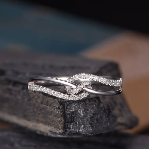 unique Love knot Wedding Band Diamond Ring