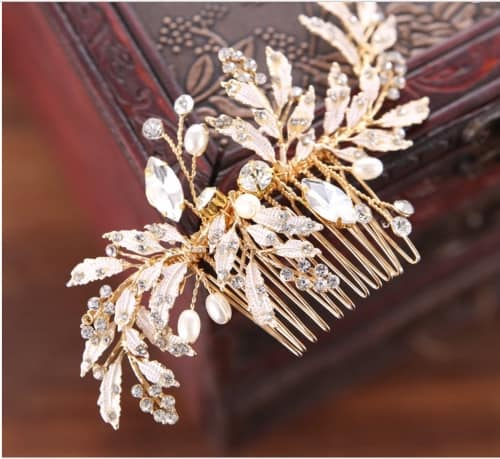 Gold leaf, rhinestone and pearl bridal comb