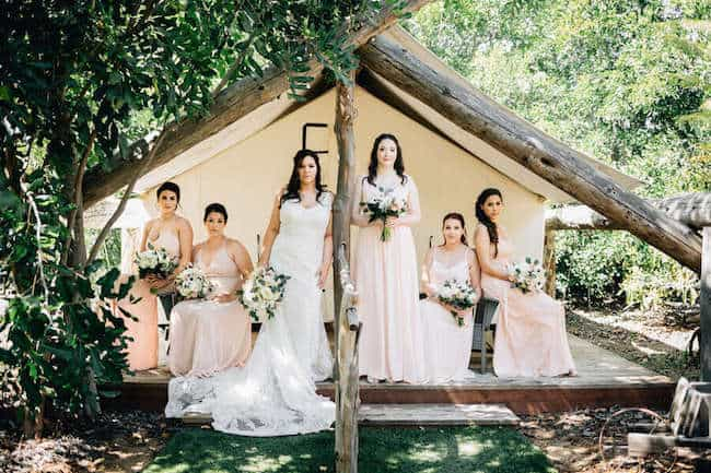 Bride and bridal party in blush theme