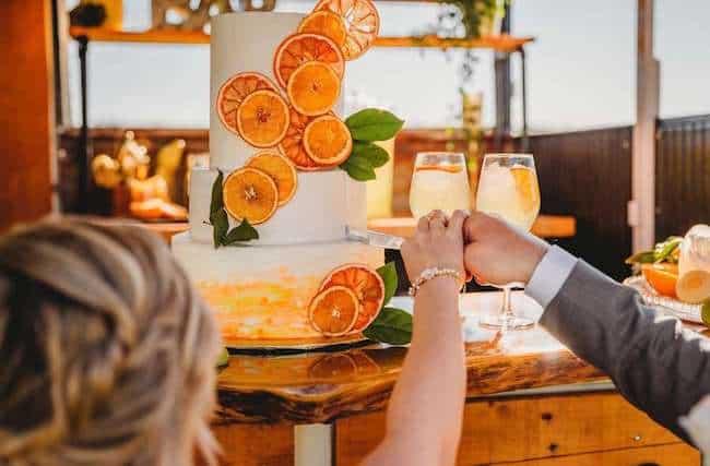 Citrus themed wedding cake