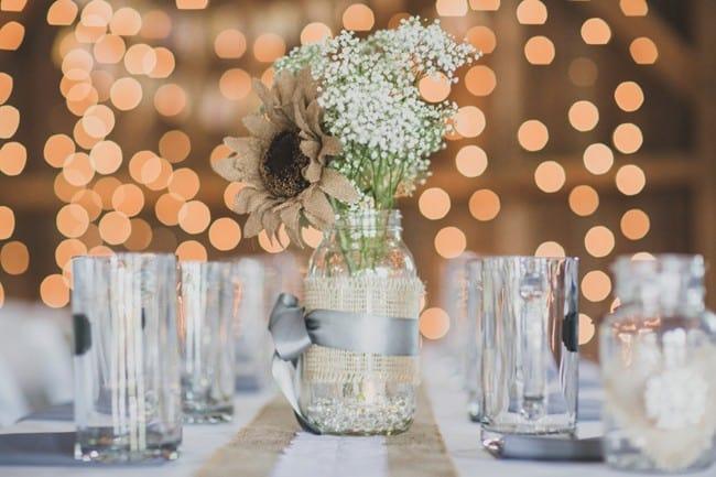 DIY flower jar wedding centrepieces