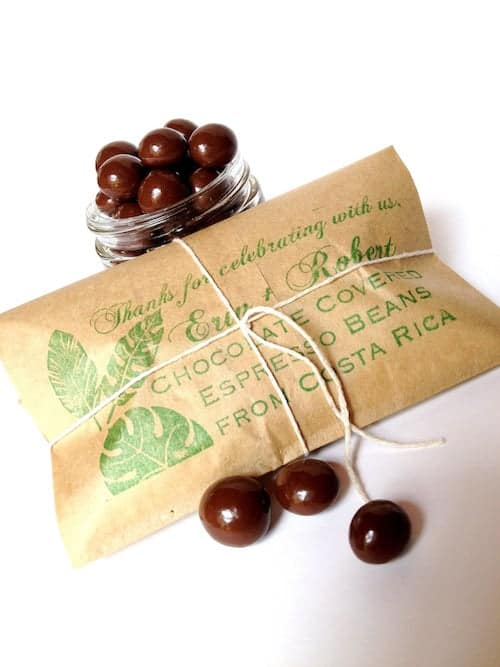 Chocolate espresso beans in brown paper packaging