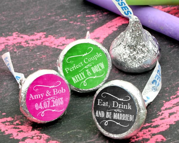Personalized Colored Foil Hershey's Kisses for Wedding Favors