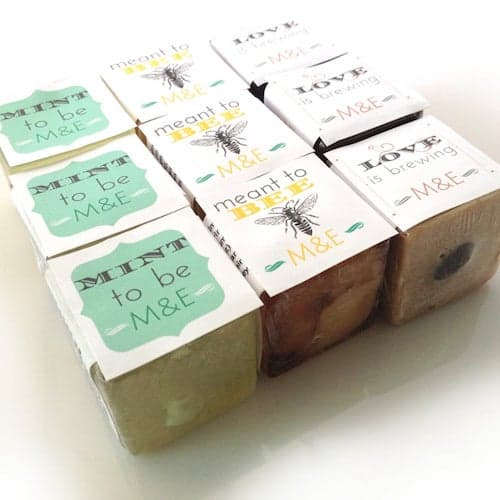 cubes of honey soap with personalized labels