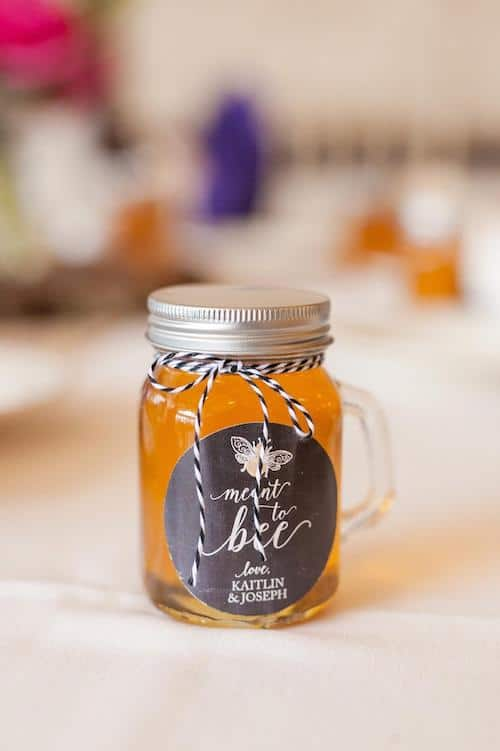 honey in mason jar with custom label