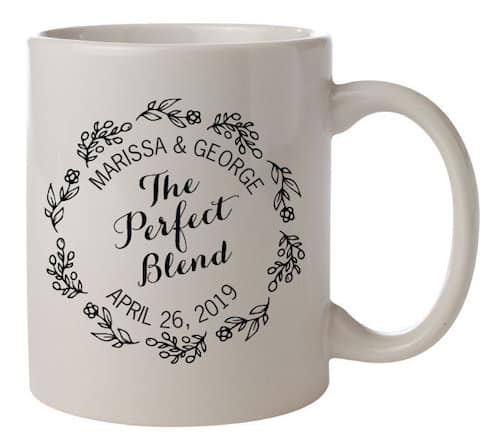 Personalized Coffee Mug with Flowers for Wedding Favor