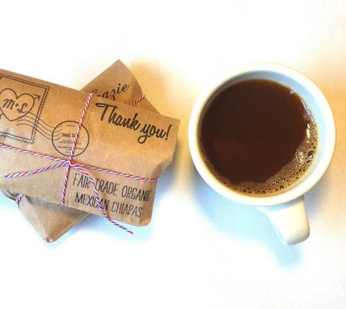 Retro Airmail Coffee Favors with Thank You Stamp