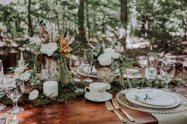 Forest-inspired wedding place setting and centrepiece