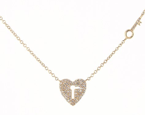 Heart shaped diamond necklace with key hole middle