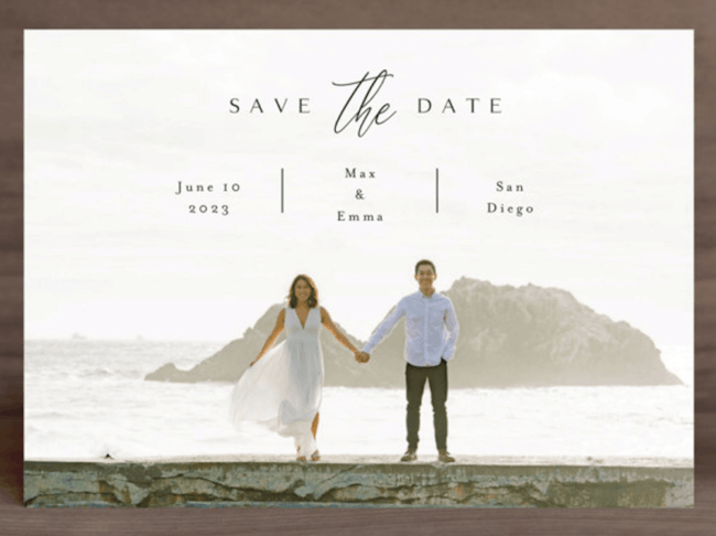 save-the-date postcard with photo