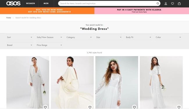"""Asos screenshot for """"wedding dress"""" category"""