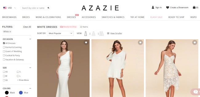 Azazie website screenshot with wedding dresses