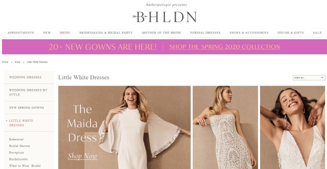 BHLDN website screenshot with short dresses
