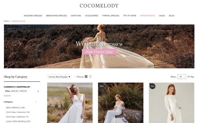 Cocomelody website screenshot with cheap wedding dresses
