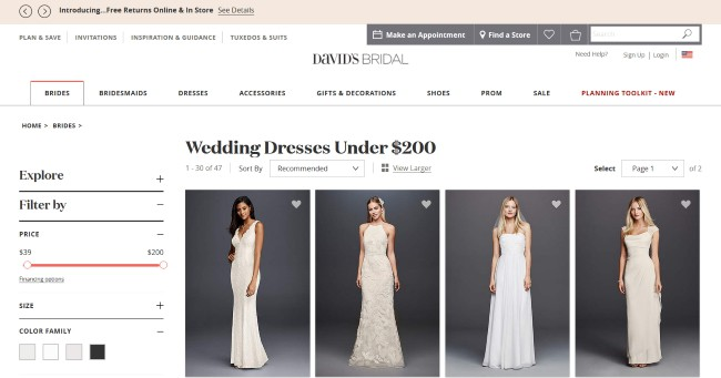 David's Bridal website screenshot with wedding dresses