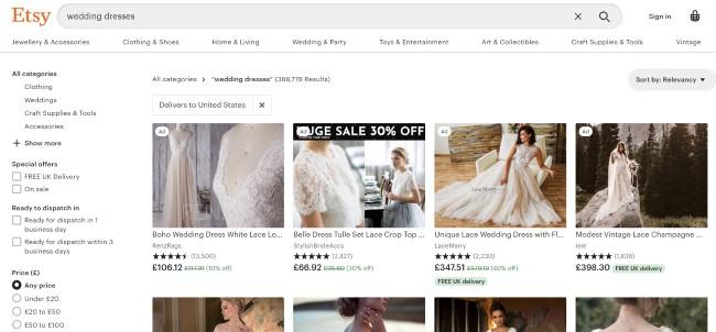 Etsy website screenshot for wedding dresses