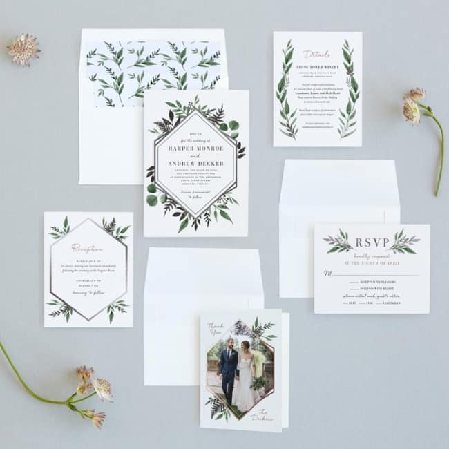 foliage theme stationery suite