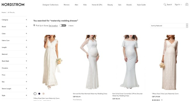 Nordstrom website screenshot with maternity dresses