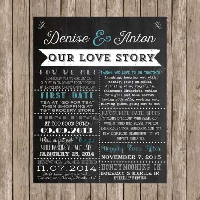 chalkboard printable love story