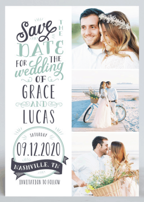 rustic save-the-date design with three photos
