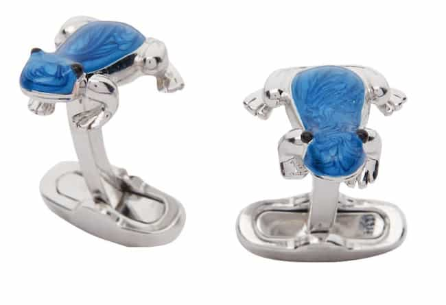silver and blue frog cufflinks
