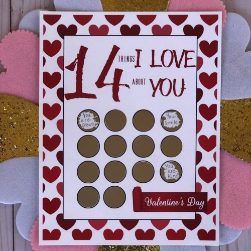 scratch off Valentines print with 14 spaces