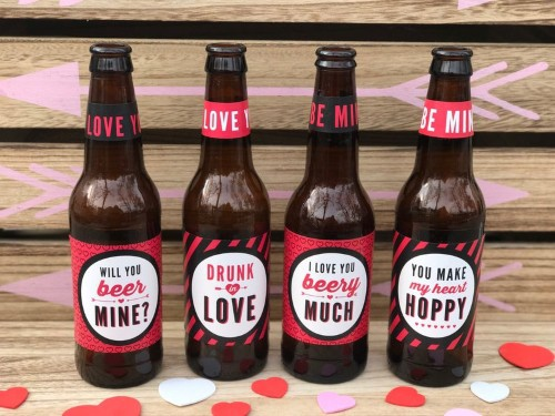 Custom-labelled beer for valentines day