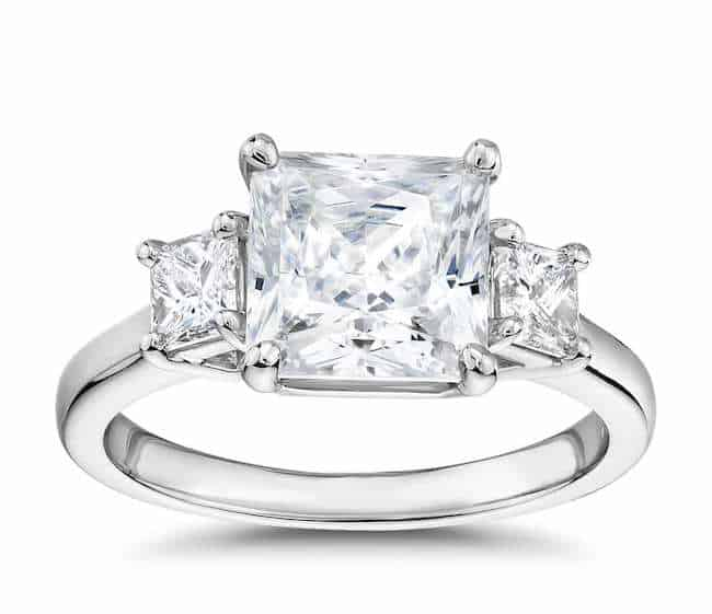 princess-cut three-stone diamond ring
