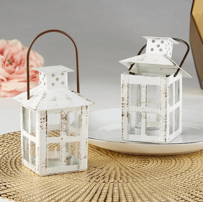 white distressed lantern candle holders