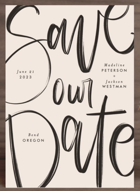 casual typographic save-the-date
