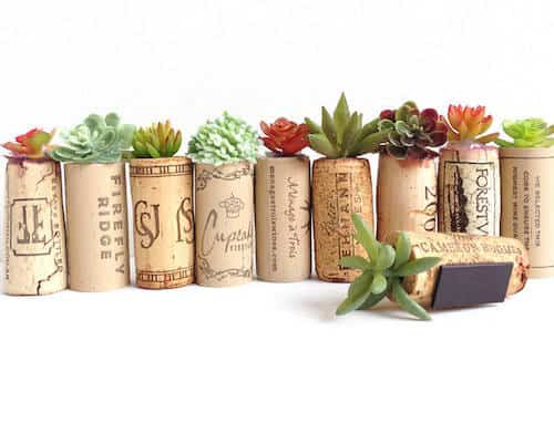 Fake succulents in wine cork magnets