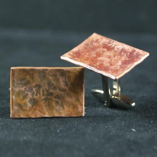 rectangular hand hammered copper cufflinks