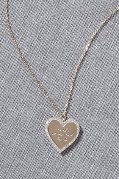 heart shaped necklace with tiny crystals