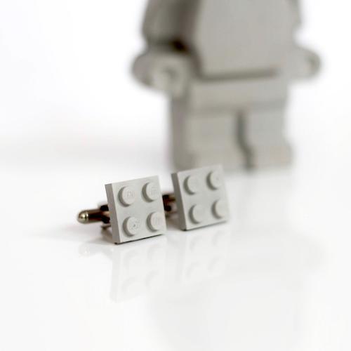 gray concrete lego cufflinks