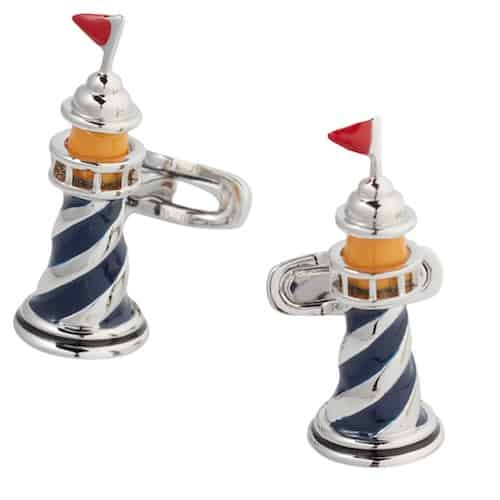 lighthouse cufflinks with red, blue, yellow and silver