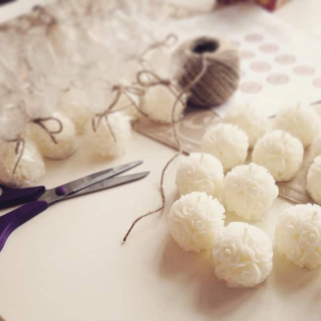 Mini white rose ball candles