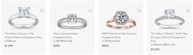 Blue Nile online selection of four engagement rings