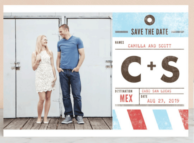destitation save-the-date postcard with photo