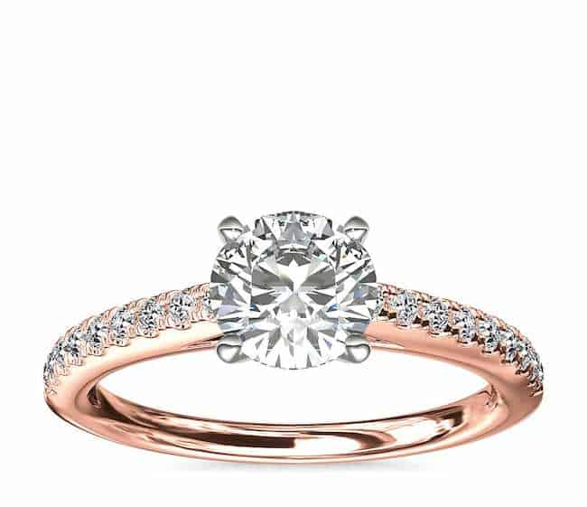 diamond engagement ring with diamond and gold band