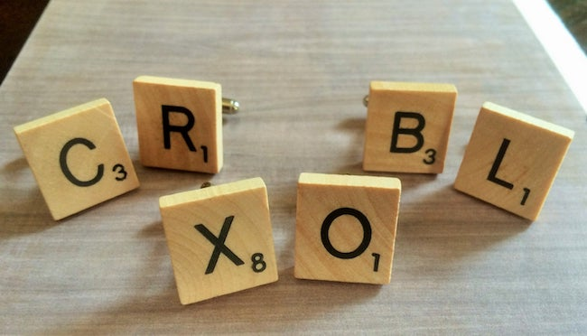 wooden scrabble tile cufflinks
