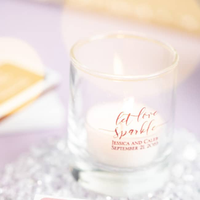 shot glass tea light holder with custom message