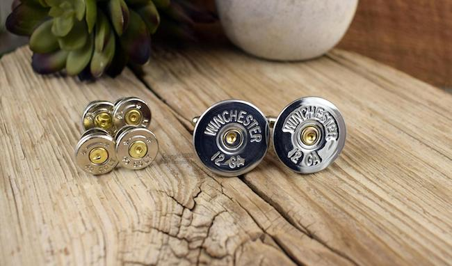 cufflinks and tuxedo studs made from winchester bullets