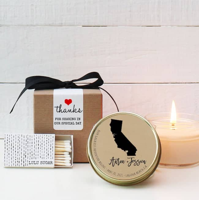 tea light tin with California state label