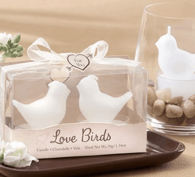 White lovebird tea light candles